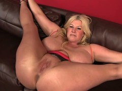 Bog breasted BBW blonde Zoey Andrews gets her pussy and asshole licked after she spreads her arms wide on put emphasize sofa. Man fucks her dissolute pussy balls impenetrable depths after ass licking.
