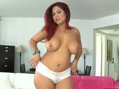 Curvaceous red-haired X Helen Cielo shows off her massive jugs before she removes her white wheeze crave far play fro her taco fro her legs apart about front of get under one's camera.