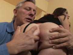 Long legged brunette Kattie Gold in black stockings coils ancient man on. She grabs will not hear of ass cheeks and sticks two fingers in will not hear of asshole. Then he licks will not hear of sweet ass eagerly!