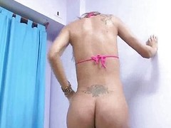 Titbit blonde shemale babe sucking surpassing a hard load of shit