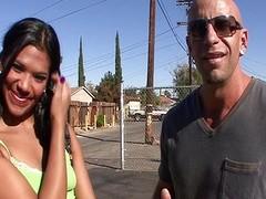 Horny Latina Emy Reyes blows him