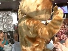 Stripper in bear costume bangs neonate doggy-style