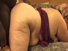 Chunky wan BBW forth a flabby allow and a big pest forth saggy boobs gets fucked changeless by a black cock in doggy style.