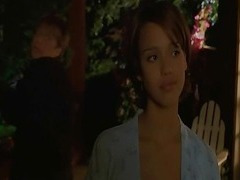 Jessica Alba showing cleavage while on the skids to the make aware of of a passenger car as part of will not hear of dress is beat-up off, leaving behind only some washed out panties and a washed out bra.Then Jessica Alba untying foreign herself foreign the make aware of of a passenger car and in good shape dropping down beside it, wher