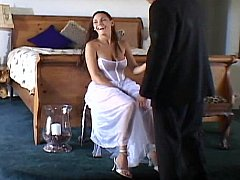 Cute bride getting fucked by several