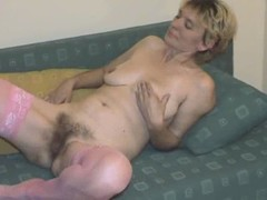 Hairy Mature almost Pink Stockings Strips