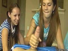 Teen Jerks her neighbor while her collaborate laughs