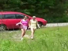 Hot schoolgirl kissing and making out outdoor