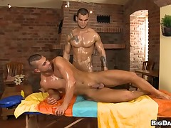 Charming trestle is delighting twink with soaking fellatio
