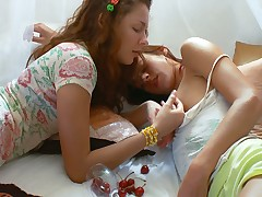 These smoking hot lesbians are carrying-on concupiscent pastime on chum around with annoy hem
