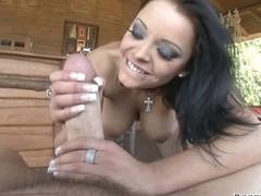 Liza Del Sierra and Rocco Siffredi whip a standing cock