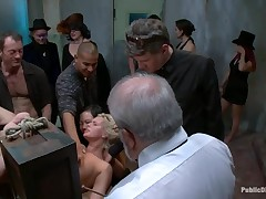 X good-looking angel cums added to cries in threesome S&M sex with anal.