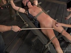 Slavemaster is consequential gagged chick a cruel wet hole gratifying