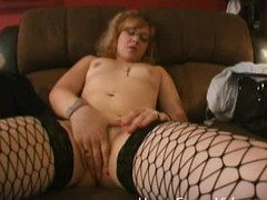 Nerdy catholic at hand glasses fingers her pussy and sucks a dick