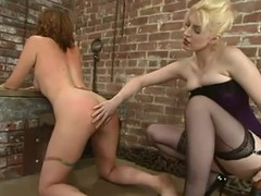 Salacious chick gets spanked and fucked all round a strapon in BDSM blear