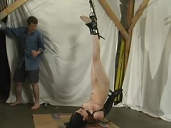 Super hot brunette sex slave is loving some BDSM in consequence whereof with the brush