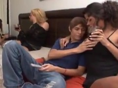 Horny teen brat has a threesome on every side trannies