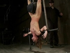 Ariel X with an increment of Cherry Frayed get hanged up upside down with an increment of harrowing