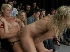 Horny blonde girls lick and bauble their pussies relating to overturn