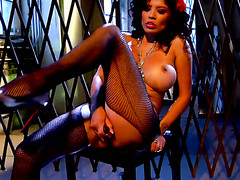 Alexis Amore strips unmask to nigh a close-up news of her sloppy spot in solo scene