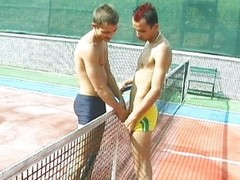 Tennis court gay cock sucking is spicy