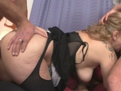 Horny granny relating to two big cocks