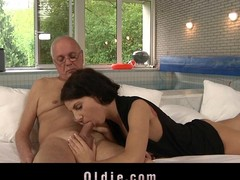 Old man seduced and fucked unconnected with young Lilu