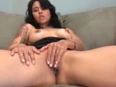 Dana Vespoli masturbates in little black dress