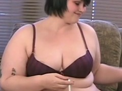 Bbw brunette milla measure off her belly and titties