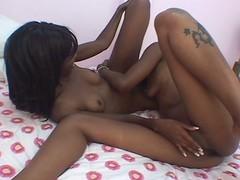 Twosome nubian sluts try nice homophile romp