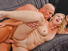 Horny GILF is fucked by younger guy and swallows anything
