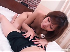Awesome playgirl plays with penis using first-class hands and frowardness