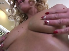 Blonde milf whore is sucking off this very long dick