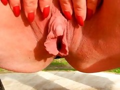 My big clit and large labia in my garden...