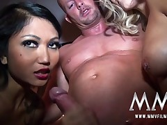 Alluring dolls fucked by German guy in the sauna
