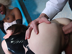 Immoral hotties get banged by the broad cocked stewardess